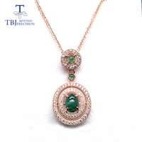 TBJ, collar con colgante de Esmeralda natural para mujer, Plata de Ley 925, joyería de color dorado fina rosa para mujer, el mejor regalo