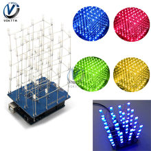 4X4X4 3D LED Cubic Light Cube Red Blue Green Yellow LED Electronic DIY Kits with Shell Light Cube kit Accessories Parts(China)