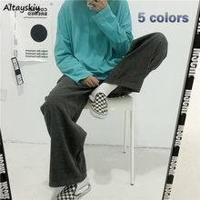 Pantalones de pierna ancha mujer Chic de pana de la calle Harajuku de adolescentes Pantalones largos-encuentro básico Simple ropa de mujer