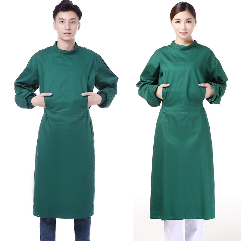 Long-sleeved cotton dark green hand-washing clothes for men and women doctors operating room clogs for women medical shoes