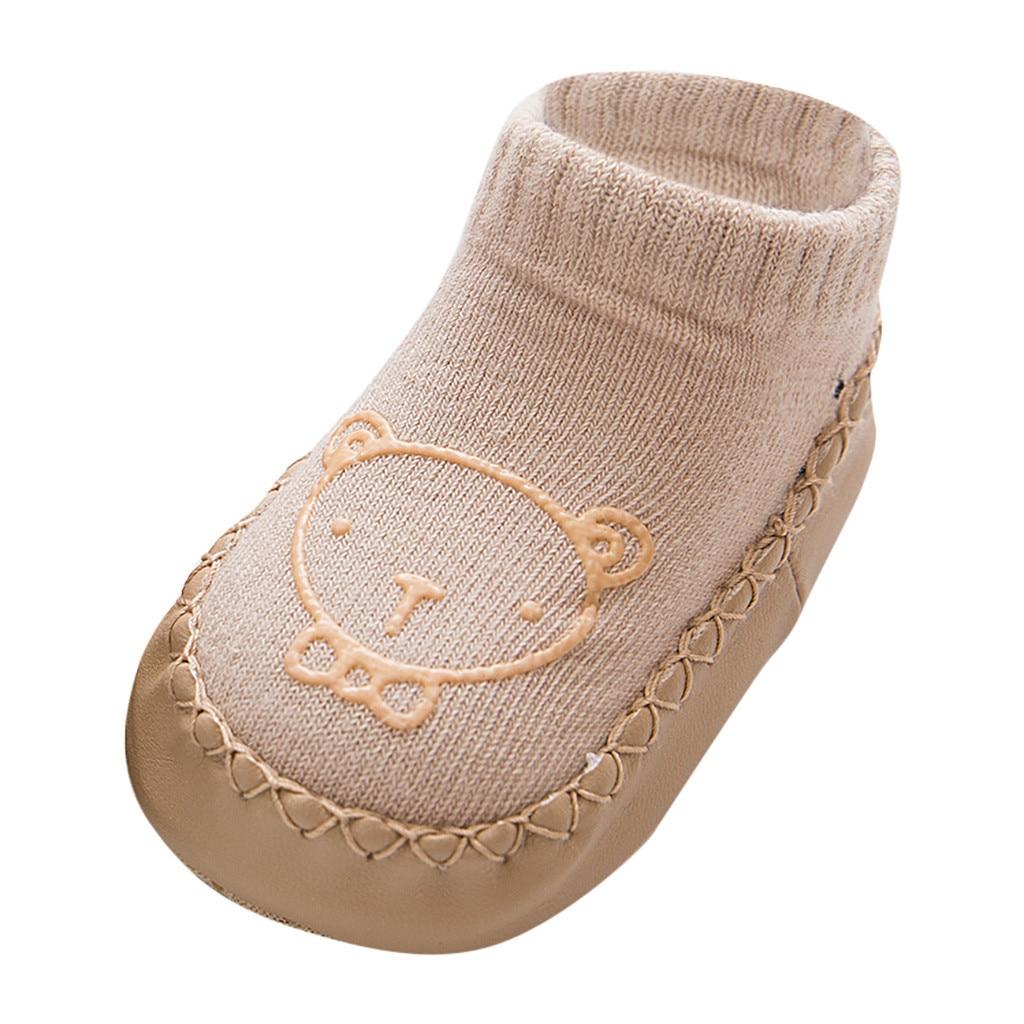Милые теплые носки-тапочки с героями мультфильмов для новорожденных мальчиков и девочек Нескользящие носки для малышей гетры, детские гольфы, зимние носки для малышей - Цвет: C