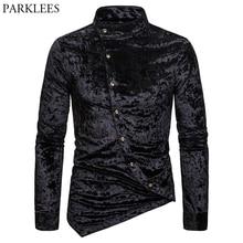 Black Velvet Velour Tuxedo Shirt Men 2019 Autumn New Banded Collar Irregular Hem Slim Fit Mens Dress Shirts Camisa Masculina 2XL
