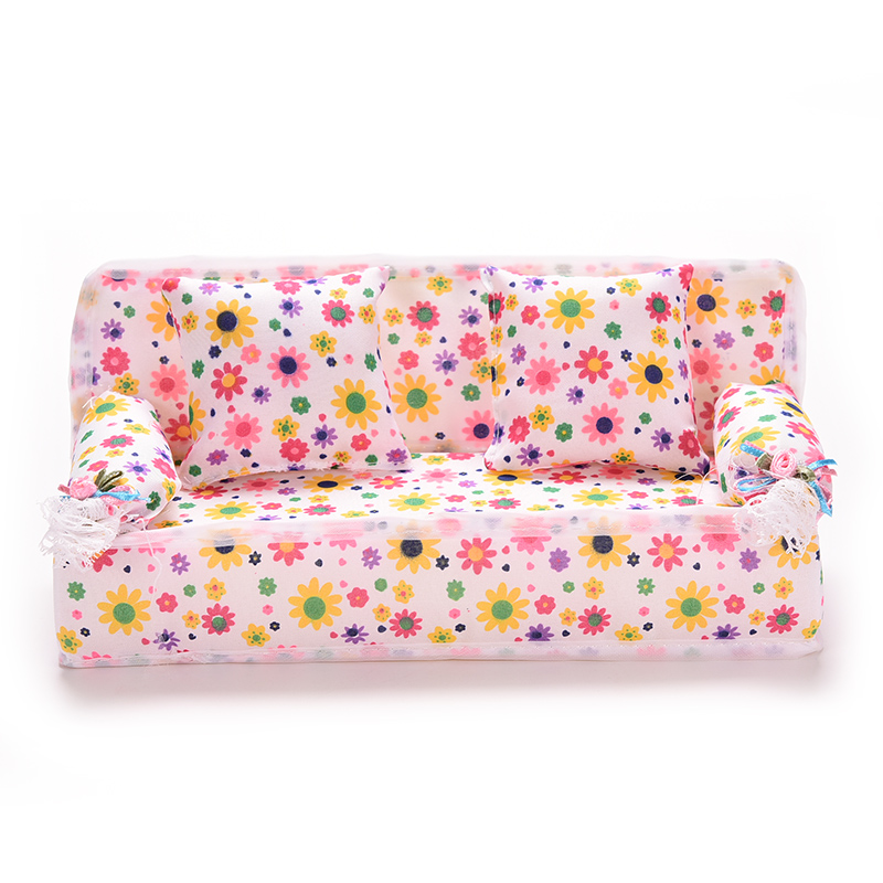 1Set Cute Miniature Doll House Furniture Flower Cloth Sofa With 2 Cushions For  Doll Kid's Play House Toys