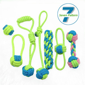 New Transfer Pet Supply Dog Toys Dogs Chew Teeth Clean Outdoor Training Fun Playing Green Rope Ball Toy For Large Small Dog Cat(China)