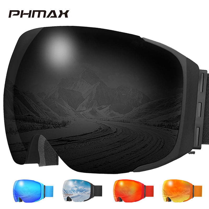 Зимние лыжные очки PHMAX, очки для сноуборда с защитой от УФ-лучей, солнцезащитные очки с противотуманными желтыми линзами, лыжные очки с маско...