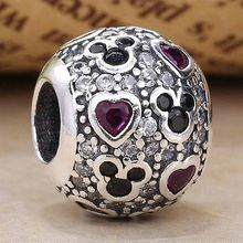 Original Cartoon Mouse & Love Heart With Crystal Beads Fit 925 Sterling Silver Bead Charm Pandora Bracelet DIY Jewelry(China)