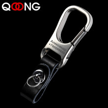 QOONG Custom Lettering Keychains Leather Keyrings Genuine Engrave Name Customized Logo Personalized Key Chain For Car