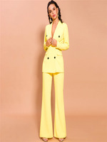 Yellow Women Female Business Suits Double Breasted Women Pant Suits 2 Piece Tuxedos for wedding Outfit Blazer Custom Made
