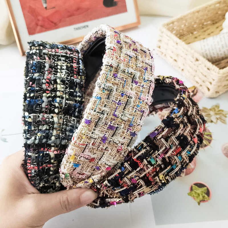 Haimeikang Plaid Hair Accessories Headband For Women Fashion Bezel Headdress Female Wide Head Hoop Headwear New Hairband