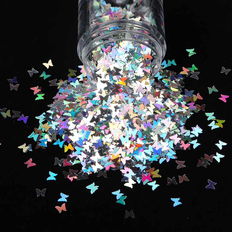 Holographic Nail Art Glitter Flakes Sparkly 3D Laser Butterfly Shape Tips DIY Charm Polish Sequin Decorations Manicure