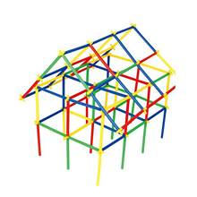 Toy Blocks Straw Plastic DIY 494pcs Assembled Construction 4D Colorful Kids