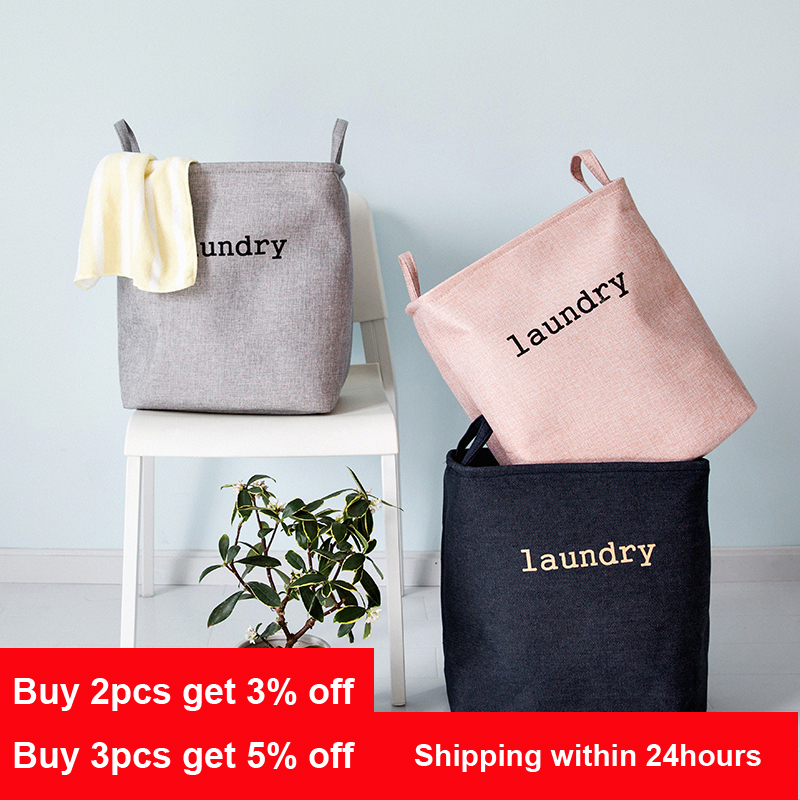 Nordic Style Square Large Laundry Basket Folding Waterproof Toy Dirty Clothes Storage Basket Bathroom Storage Bucket Organizer