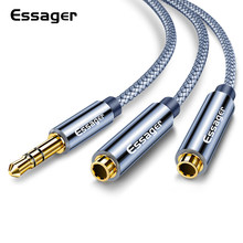 Essager Jack 3.5 Mm Earphone Splitter Kabel Male To 2 Female AUX Audio Kabel untuk Iphone Samsung Headphone 3.5 Mm kabel Ekstensi(China)