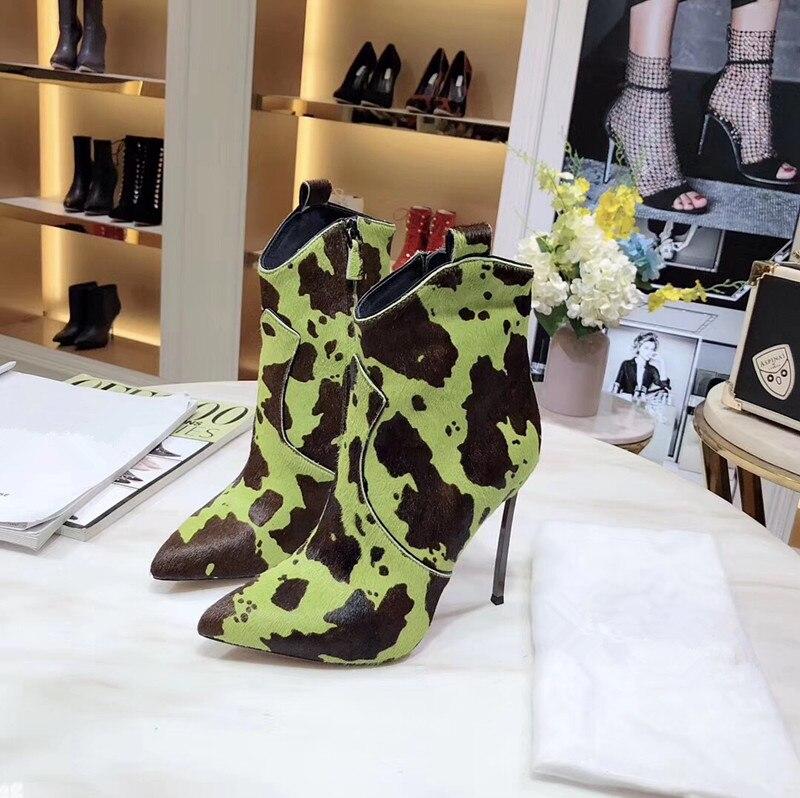 Г., ботильоны из конского волоса и коровьей кожи Зимняя обувь из натуральной кожи женские ковбойские ботинки на высоком каблуке-шпильке без застежки - Цвет: Зеленый