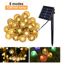 New 8-mode solar lights 20/50/100 LEDS Crystal ball 5M/7M/12M Luz LED solar Outdoor waterproof solar garden navidad decoration(China)