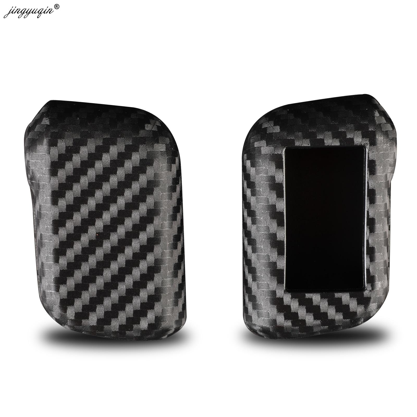 Jingyuqin جديد الكربون غطاء من السيليكون ل Starline A93 A63 A96 سيارة 2 طريقة إنذار مستشعر عن بعد التحكم LCD المفاتيح غطاء سيارة التصميم