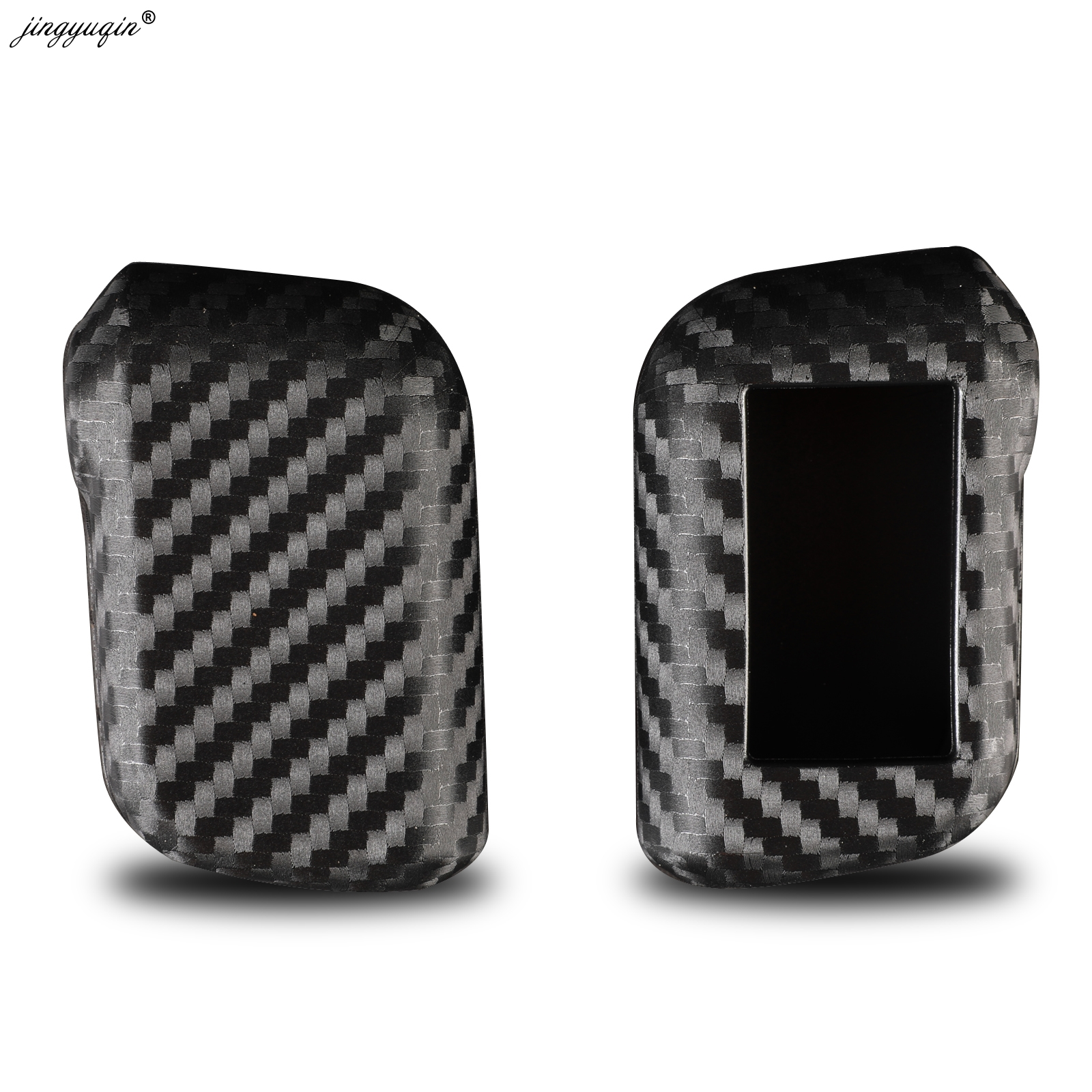 Jingyuqin New Carbon Silicone Case For Starline A93 A63 A96 Car 2 Way Alarm Remote Sensor Control LCD Keychain Cover Car Styling
