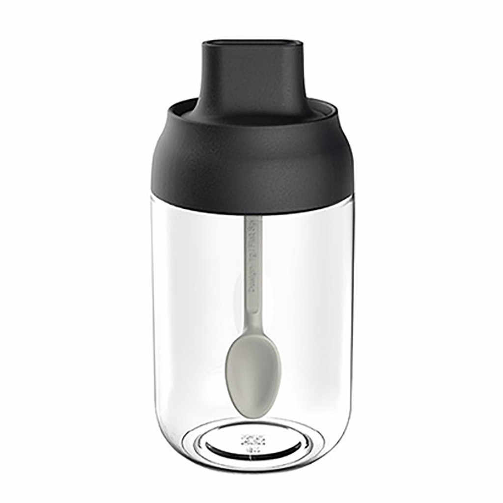 Transparan Perlengkapan Dapur Kaca Plastik Botol Bumbu Garam Kotak Penyimpanan Toples Bumbu untuk Garam Gula Merica Bubuk dengan Sendok