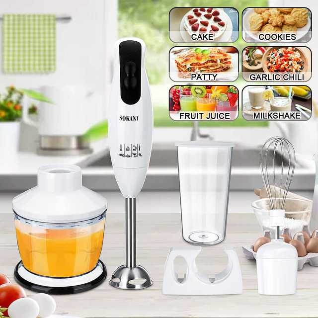 5 in 1 600W Electric Blenders Stick Whisk Juicer Mixer Portable Handheld Stainless Steel+ABS Vegetable Meat Grinder Food Chopper