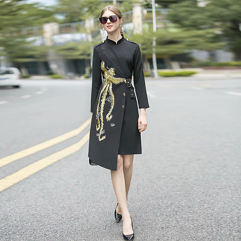 High Quality Spring Autumn New Women'S Fashion Office Party Casual Vintage Elegant Chic Embroidery Print Black Midi Coat Dress