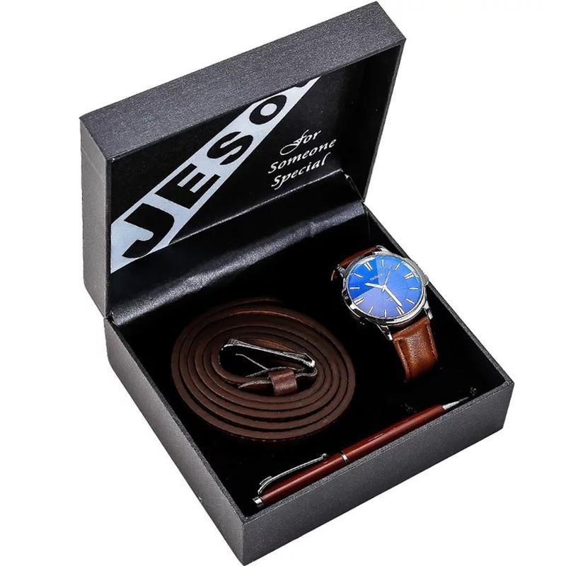Man Watch Gift Set With Box Leather Belt Ballpoint Pen Mens Watches Luxury Quartz Wrist Watch Set For Boyfriend Father's gift