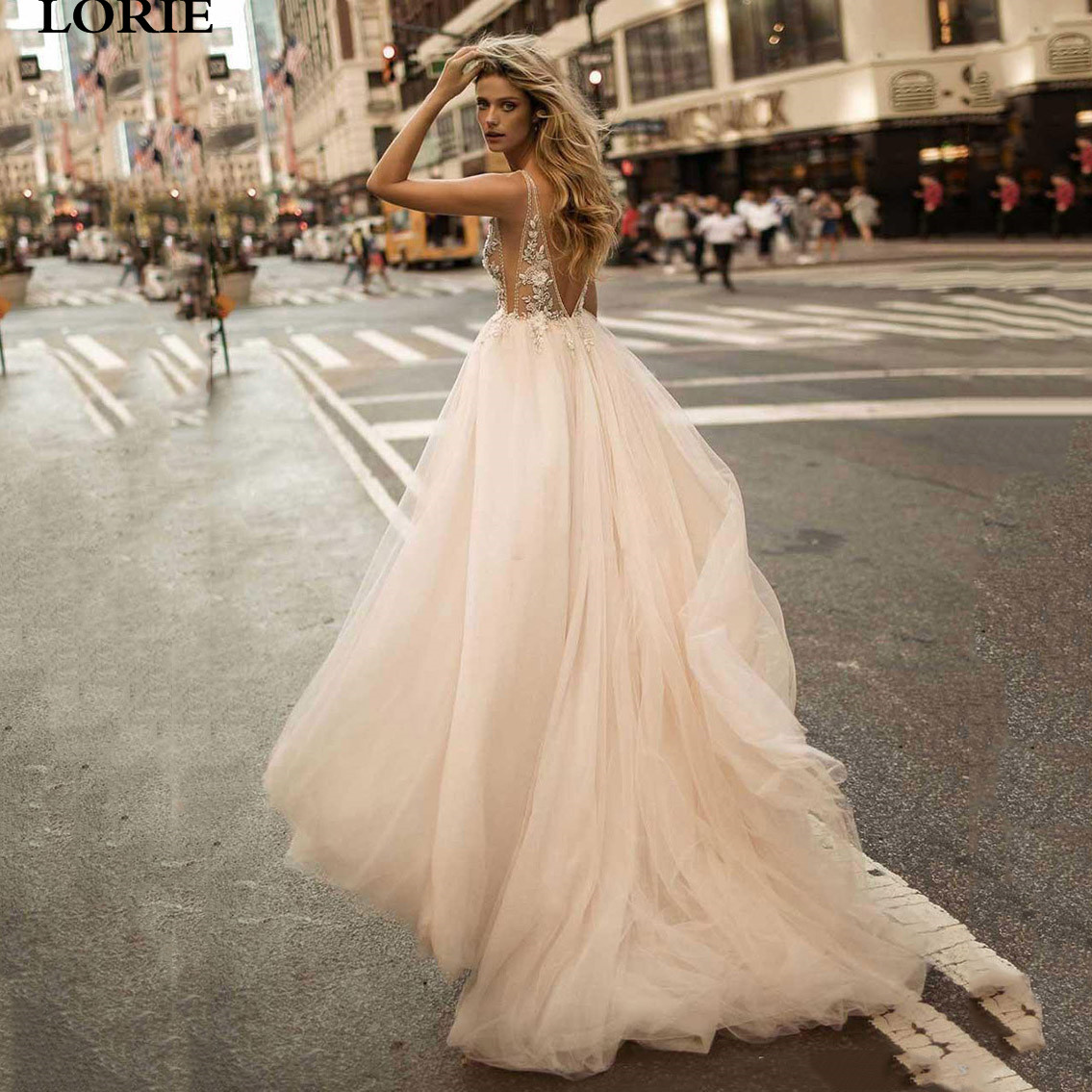 LORIE A Line Wedding Dress Sexy V Neck Bride Dress Lace Flowers Vestidos De Novia Backless Boho Bride Wedding Gowns