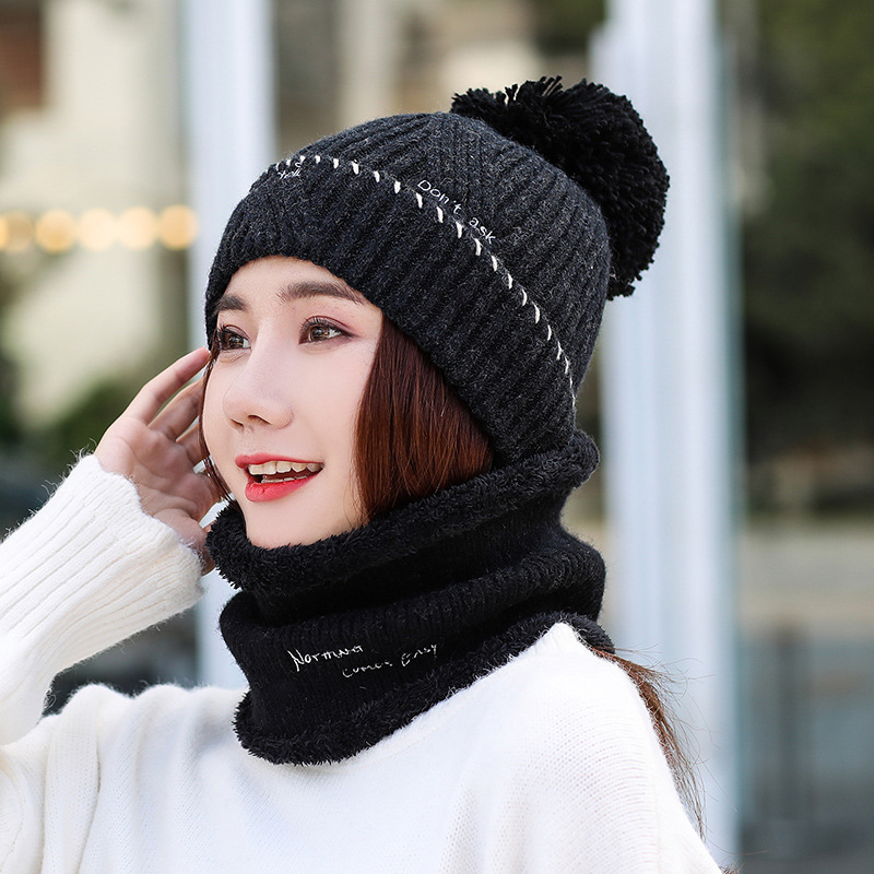 2019 New Brand Wool Fur Ball Cap Pompom Winter Hat For Women Girls Warm Knitted Scarf Hat Set For Girls Warm Women's Hat