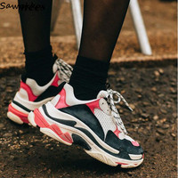 Women Platform Sneakers Lace Up Sport Running Casual Shoes Leather Wedge Sneakers Walking Trainers Women's Vulcanize Shoes
