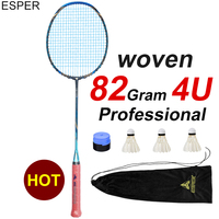 ESPER Professional Badminton Racket 4U Carbon Fiber Lightweight Graphite Racquet High Quality High Tension With String and Gifts