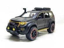 1:24 toyota prado overbearing versão modificada com metal carro modelo brinquedos como presentes e ornamentos