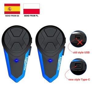 Image 1 - Fodsports 2 pcs BT S3 אופנוע קסדת אינטרקום Moto קסדת Bluetooth אוזניות עמיד למים Intercomunicador BT האינטרפון FM