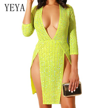 YEYA Women Sexy Deep V-neck Striped Summer Casual Dress Double Side High Split Bandage Party Hollow Out Beach Dresses Vestidos