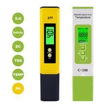 Yieryi taşınabilir PH metre C-100 5 in 1 TDS/EC/tuzluluk/S.G./Sıcaklık su test araçları LCD dijital su kalitesi test kalemi