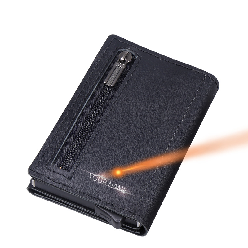 Men Aluminum 100% Genuine Leather ID Card Credit Card Zipper Coin Purse Automatic Pop Up Anti-theft Holder RFID Metal Wallet