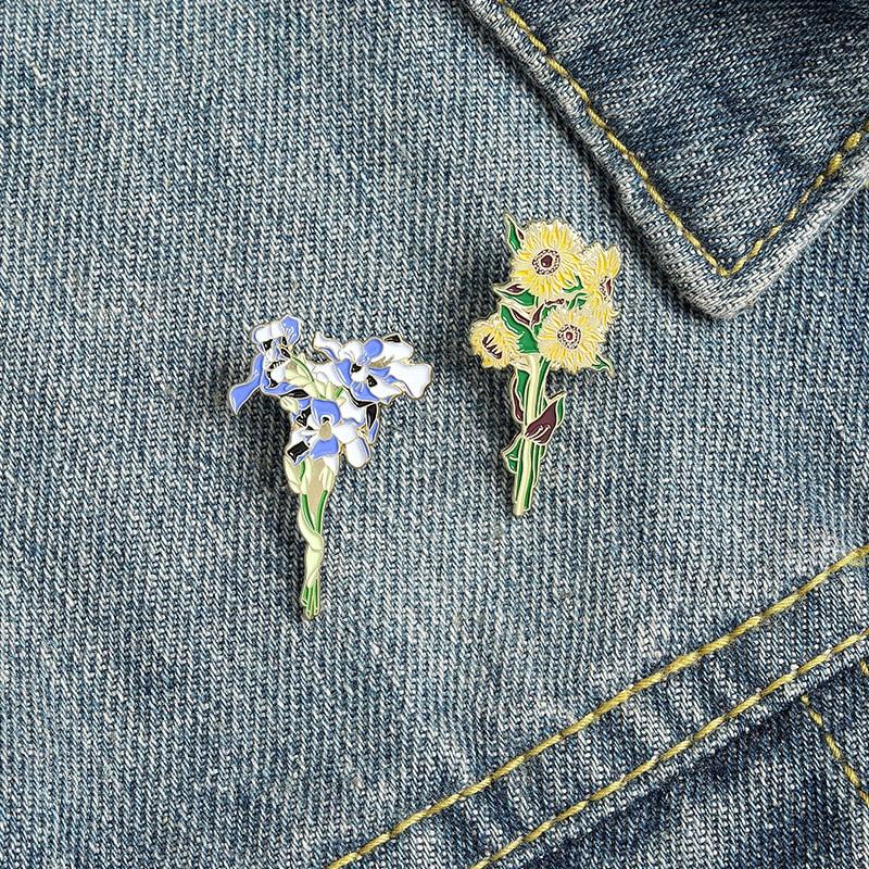 Эмали штырь подсолнечника брошь в форме цветка для пальто значки на лацкан, металлическая, броши для мужчин на одежде значки для рюкзак пода...