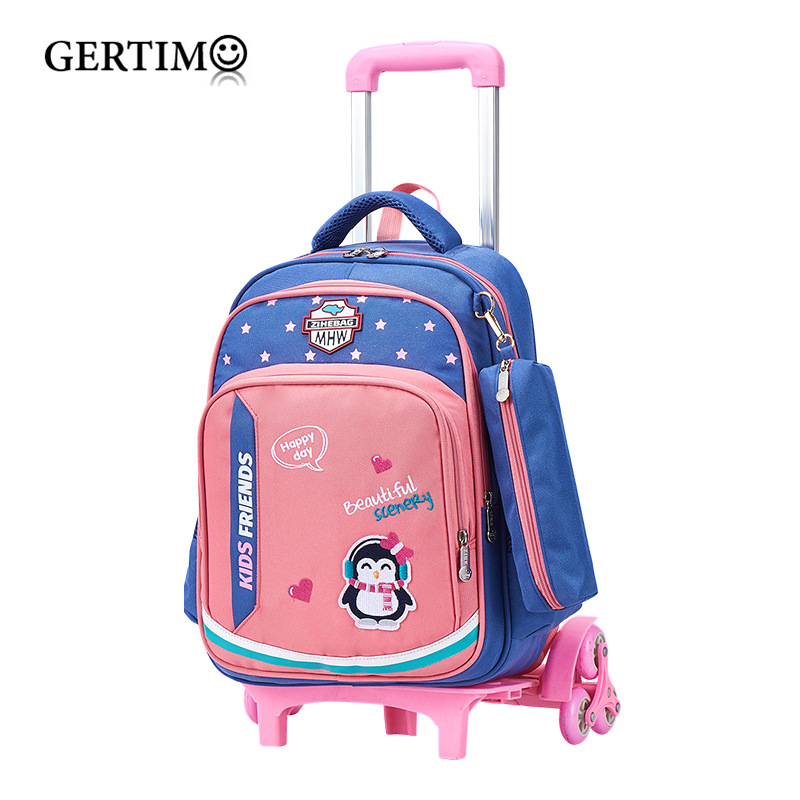 Kids Boys Girls Trolley School Bag On Wheels Climb Stairs Luggage Travel Backpacks Removable Children School Bags With Wheels