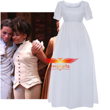 Musical Rock Opera Hamilton Stage Concert Peggy Cosplay Costume Women White Gown Fancy Chiffon Beach Dress Bridesmaid Dress
