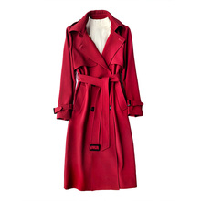 New FashionFall /Autumn Casual Double breasted Simple Classic Long Trench coat with belt Chic Female windbreaker