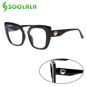Image 1 - SOOLALA uroczy kot oko kwadratowe okulary do czytania z sercem ramiona kobiety nadwzroczność okulary do czytania + 1.0 1.25 1.5 1.75 do 4.0