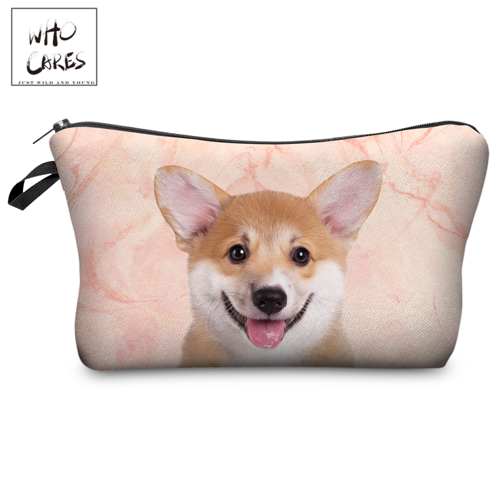 Who Cares Makeup Bags Women Cosmetic Bag Corgi Marble Printing Oiletry Bag Cosmetics Pouchs For Travel Make Up Bag