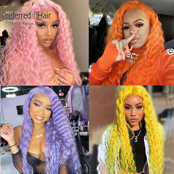 Preferred Deep Wave Lace Front Human Hair Wig With Baby Hair Remy Brazilian Hair Wig Pink Full Lace Human Hair Wigs For Women