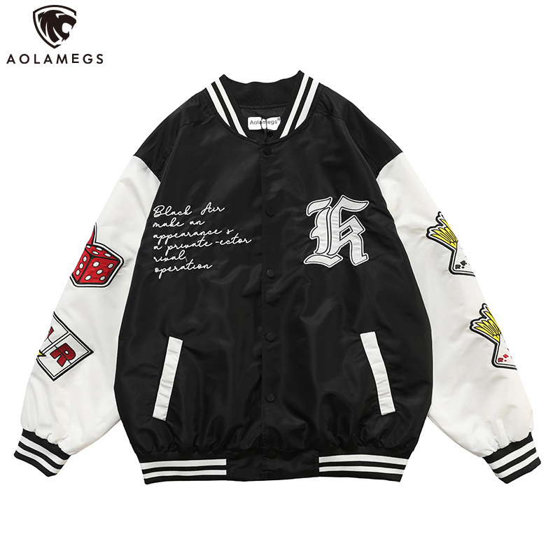 Aolamegs Hip Hop Jackets Men Funny Poker Letter Embroidery Patchwork Baseball Jacket Tracksuit Coats Baggy Couple Streetwear men
