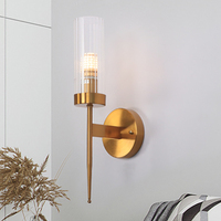 Modern Luxury Gold Wall Sconces Light Bedroom Bedside Living Room LED Wall Lamps Glass Tube shade Indoor Lighting Fixtures