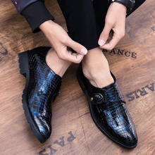 retro men lace up oxfords grey pointed toe casual shoes business man office shoes man shoes all season Handmade Leather Business Shoes for Man Italian Tide Formal Dress Shoes Men Classic Pointed Toe Oxfords Male Retro Monk Shoes