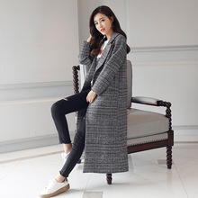 Stylish Autumn Winter Grey Plaid Coat Women #8217 s Winter Wool Coat Trend Loose Coat A Stylish Ladies Wool Coat Grey Plaid Coat cheap Full Broadcloth Elegant fashion Chinese Style Cashmere Polyester geometric Long Ages 18-35 Years Old picture color (added cotton) G881721