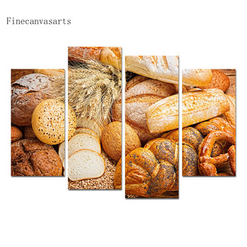 4 Panels Room Decor Poster Freshly Baked Bread Canvas Wall Art Painting Modern Style Living Decoration Picture
