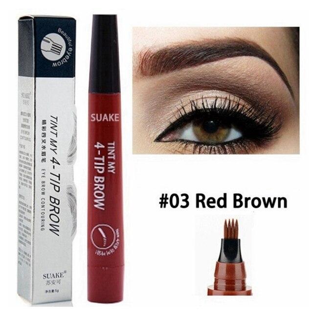 Microblading Tattoo Eyebrow Pen Fork Tip Fine Sketch Eyebrow Makeup Pencil Long Lasting 5 Colors Natural Liquid Eye Brow Pen 4
