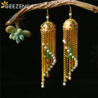 925 Sterling Silver Jasper Gold plated Drop Earrings Hetian Jade Peas Pearl Tourmaline Tassels Earrings Fine Jewelry Women Gift
