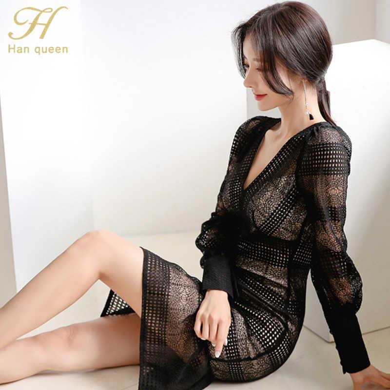 H Han Queen Sexy voir à travers Patchwork moulante robe femmes 2019 automne v-cou volants sirène robes OL travail porter dentelle robes