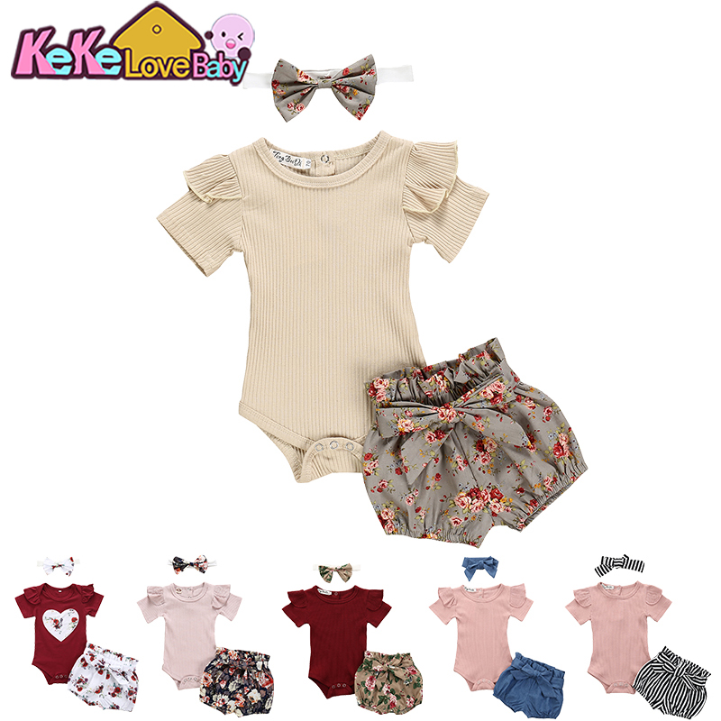 Newborn Baby Girl Clothes Set Summer Solid Color Short Sleeve Romper Flower Shorts Headband 3Pcs Outfit New Born Infant Clothing